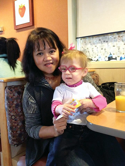 Faith Rossi was reunited with Marichu Smith, RN, one of her nurses, at a hospital event.